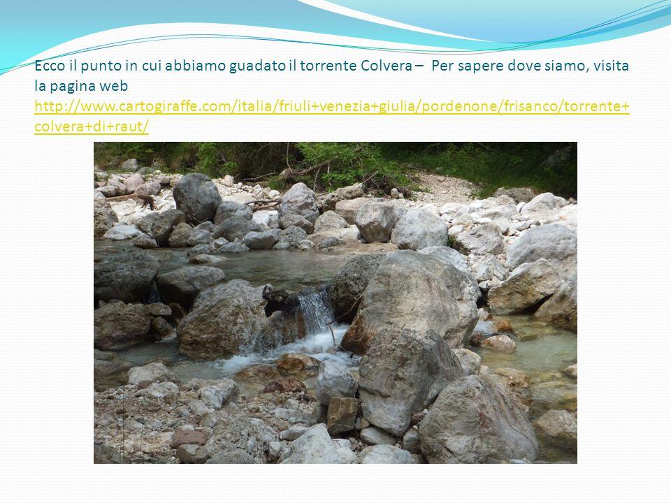 Ecco il punto in cui abbiamo guadato il torrente Colvera – Per sapere dove siamo, visita la pagina web http://www.cartogiraffe.com/italia/friuli+venez