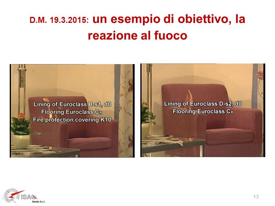 13 D.M. 19.3.2015: un esempio di obiettivo, la reazione al fuoco