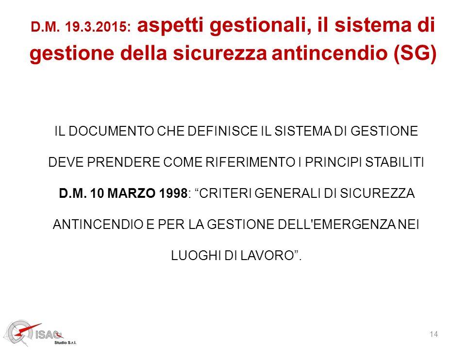 14 D.M. 19.3.2015: aspetti gestionali, il sistema di gestione della sicurezza antincendio (SG) IL DOCUMENTO CHE DEFINISCE IL SISTEMA DI GESTIONE DEVE