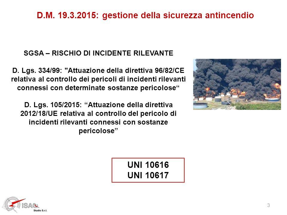 3 D.M. 19.3.2015: gestione della sicurezza antincendio SGSA – RISCHIO DI INCIDENTE RILEVANTE D. Lgs. 334/99: