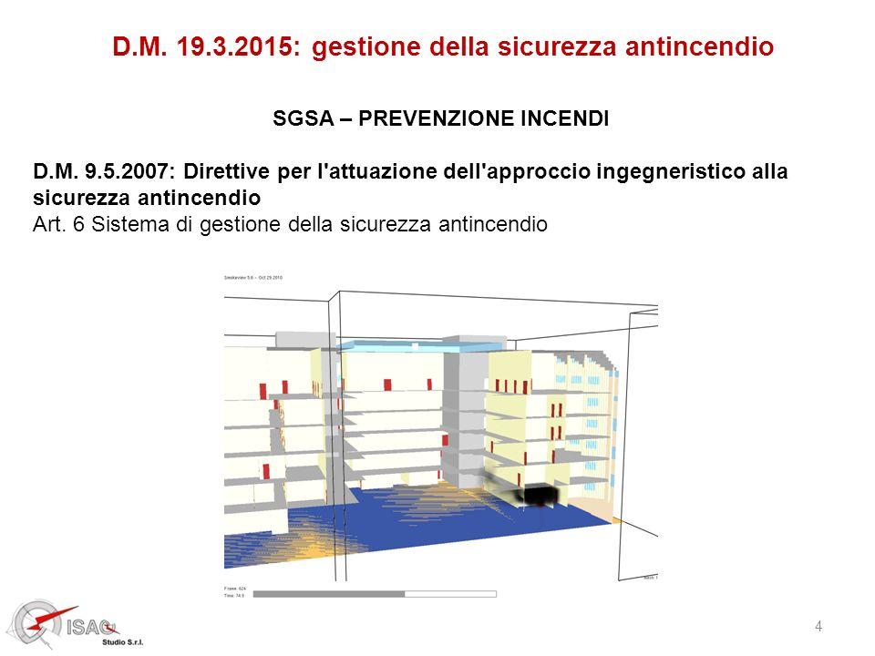 4 D.M. 19.3.2015: gestione della sicurezza antincendio SGSA – PREVENZIONE INCENDI D.M. 9.5.2007: Direttive per l'attuazione dell'approccio ingegnerist