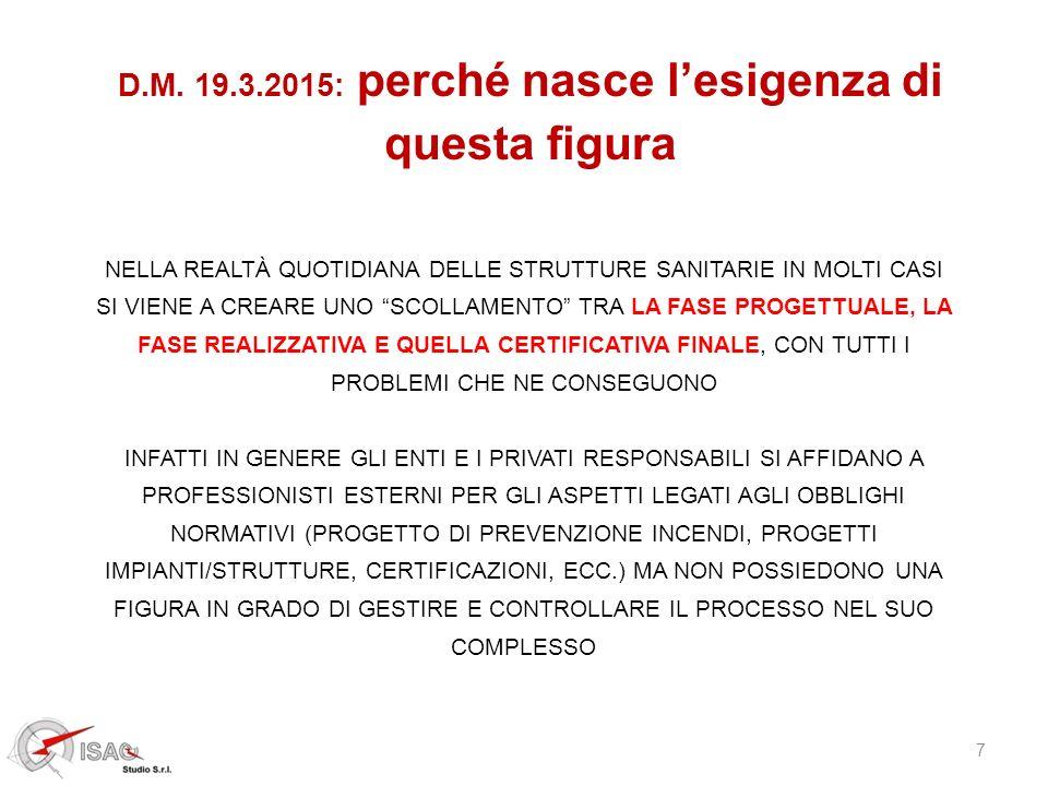 18 D.M.19.3.2015, strutture sanitarie e S.G.S.A.