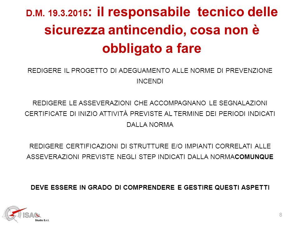 8 D.M. 19.3.2015 : il responsabile tecnico delle sicurezza antincendio, cosa non è obbligato a fare REDIGERE IL PROGETTO DI ADEGUAMENTO ALLE NORME DI