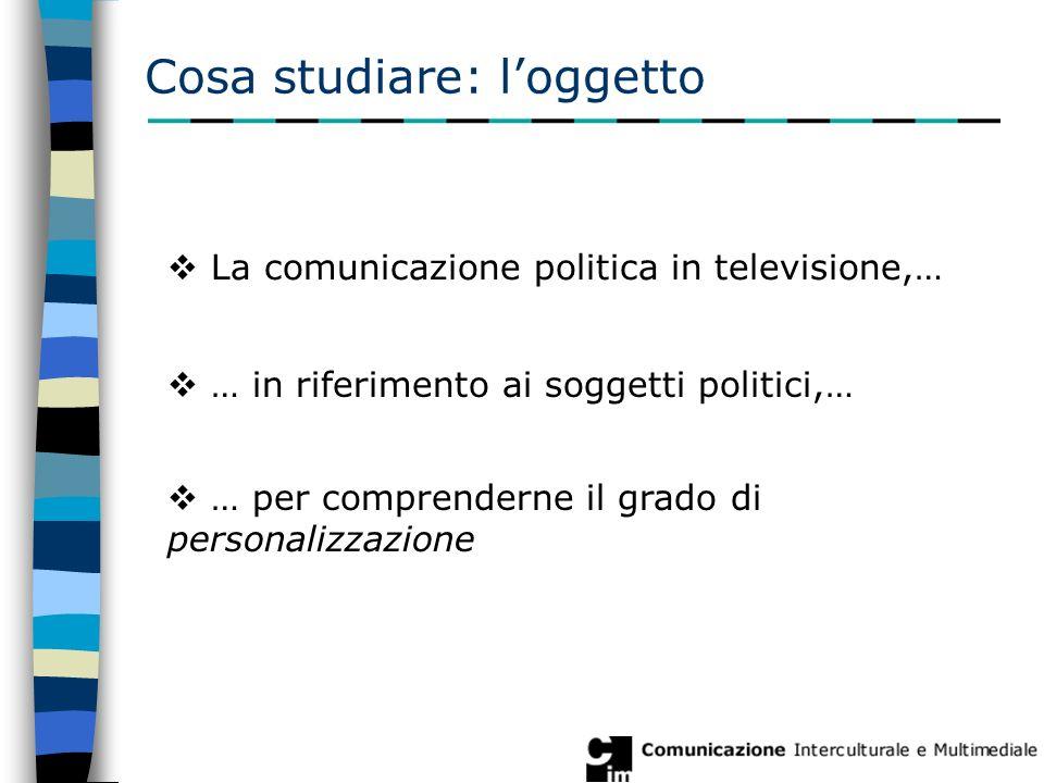 Cosa studiare: l'oggetto  La comunicazione politica in televisione,…  … in riferimento ai soggetti politici,…  … per comprenderne il grado di personalizzazione