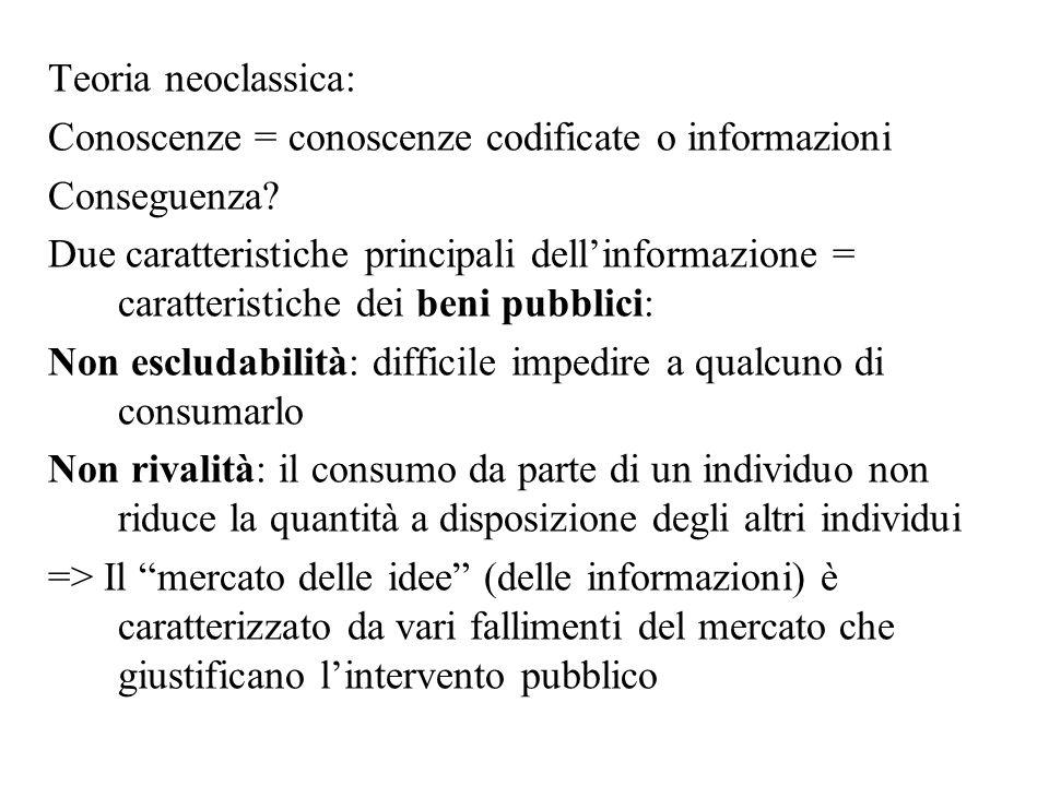 Teoria neoclassica: Conoscenze = conoscenze codificate o informazioni Conseguenza? Due caratteristiche principali dell'informazione = caratteristiche