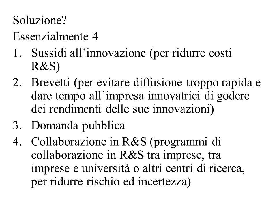 Soluzione? Essenzialmente 4 1.Sussidi all'innovazione (per ridurre costi R&S) 2.Brevetti (per evitare diffusione troppo rapida e dare tempo all'impres