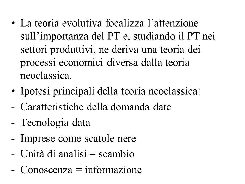 La teoria evolutiva focalizza l'attenzione sull'importanza del PT e, studiando il PT nei settori produttivi, ne deriva una teoria dei processi economi