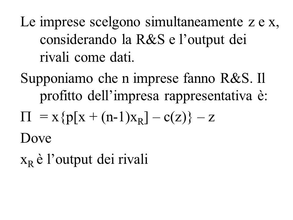 Le imprese scelgono simultaneamente z e x, considerando la R&S e l'output dei rivali come dati. Supponiamo che n imprese fanno R&S. Il profitto dell'i