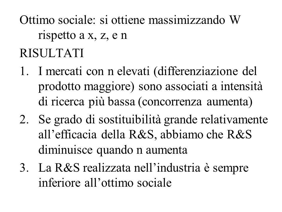 Ottimo sociale: si ottiene massimizzando W rispetto a x, z, e n RISULTATI 1.I mercati con n elevati (differenziazione del prodotto maggiore) sono asso