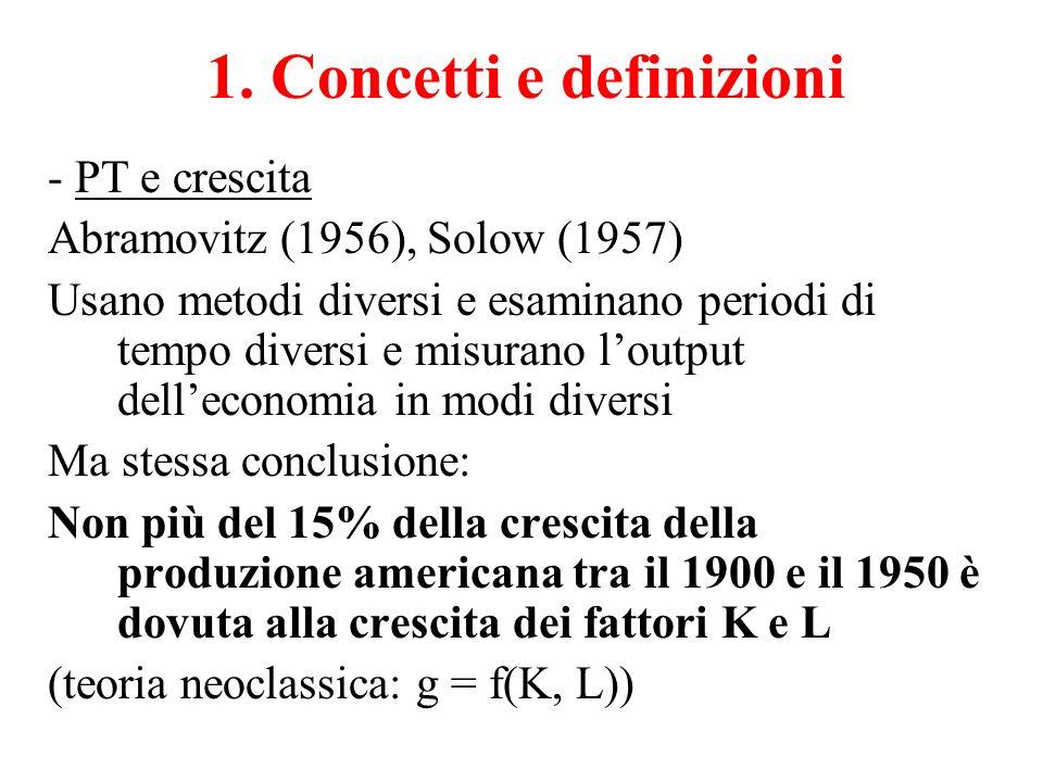 1. Concetti e definizioni - PT e crescita Abramovitz (1956), Solow (1957) Usano metodi diversi e esaminano periodi di tempo diversi e misurano l'outpu