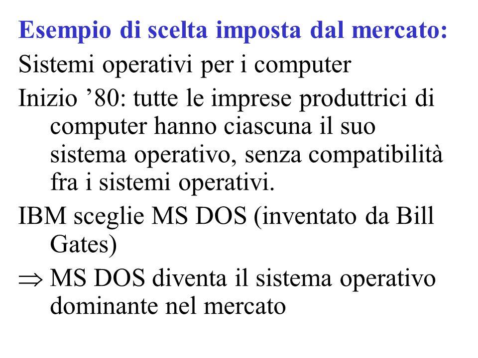 Esempio di scelta imposta dal mercato: Sistemi operativi per i computer Inizio '80: tutte le imprese produttrici di computer hanno ciascuna il suo sis