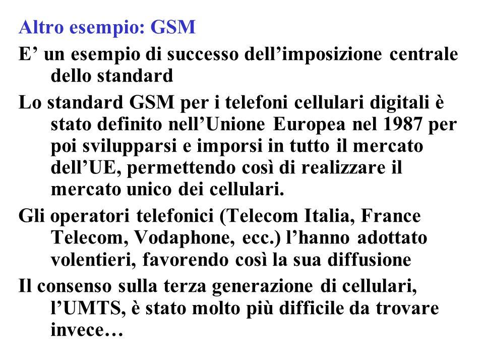 Altro esempio: GSM E' un esempio di successo dell'imposizione centrale dello standard Lo standard GSM per i telefoni cellulari digitali è stato defini
