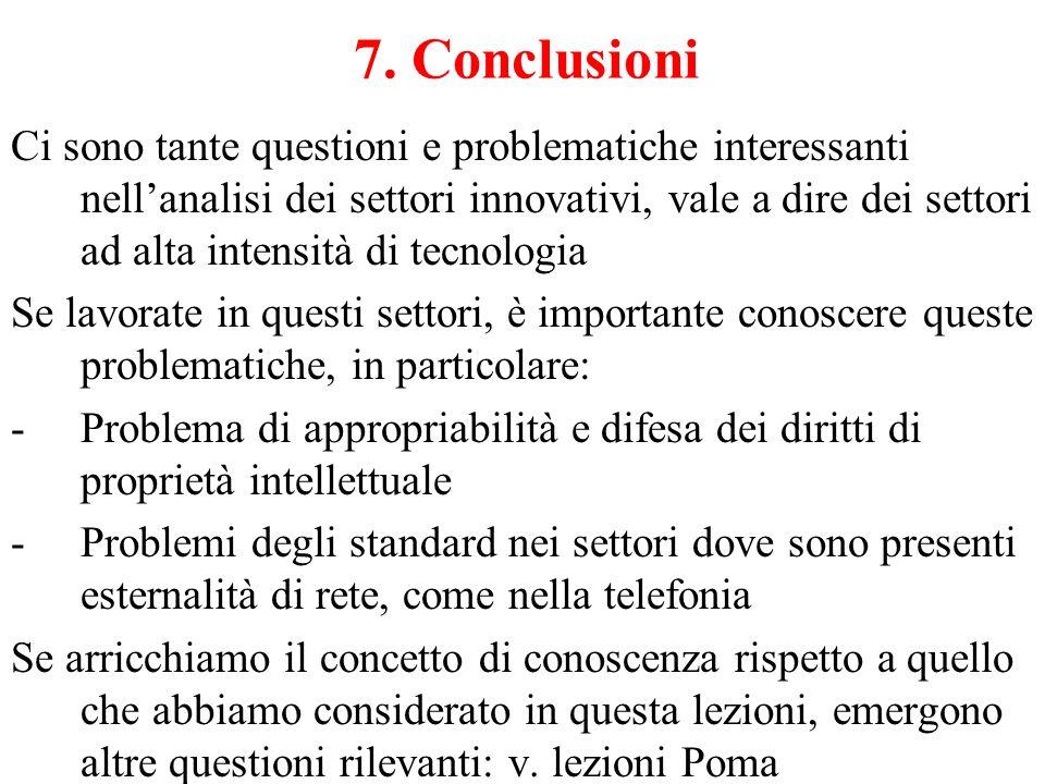 7. Conclusioni Ci sono tante questioni e problematiche interessanti nell'analisi dei settori innovativi, vale a dire dei settori ad alta intensità di