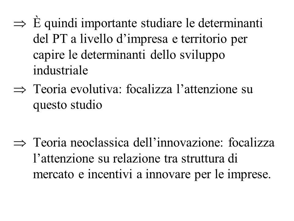  È quindi importante studiare le determinanti del PT a livello d'impresa e territorio per capire le determinanti dello sviluppo industriale  Teoria