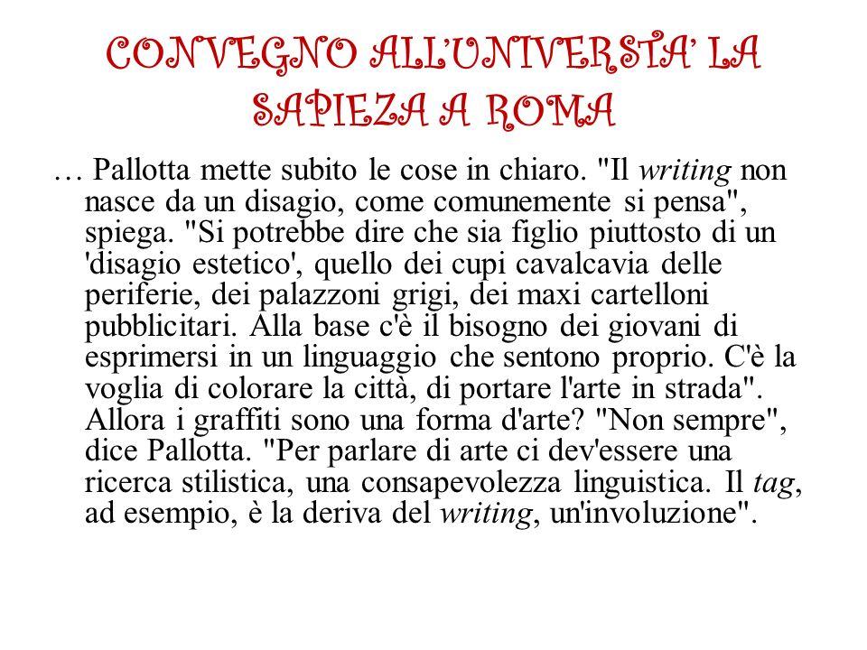 CONVEGNO ALL'UNIVERSTA' LA SAPIEZA A ROMA … Pallotta mette subito le cose in chiaro.
