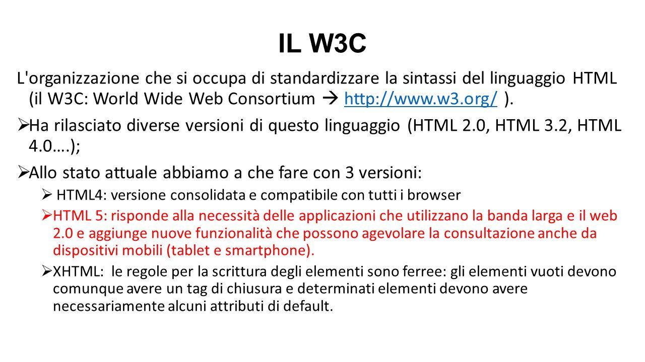 IL W3C L'organizzazione che si occupa di standardizzare la sintassi del linguaggio HTML (il W3C: World Wide Web Consortium  http://www.w3.org/ ).http