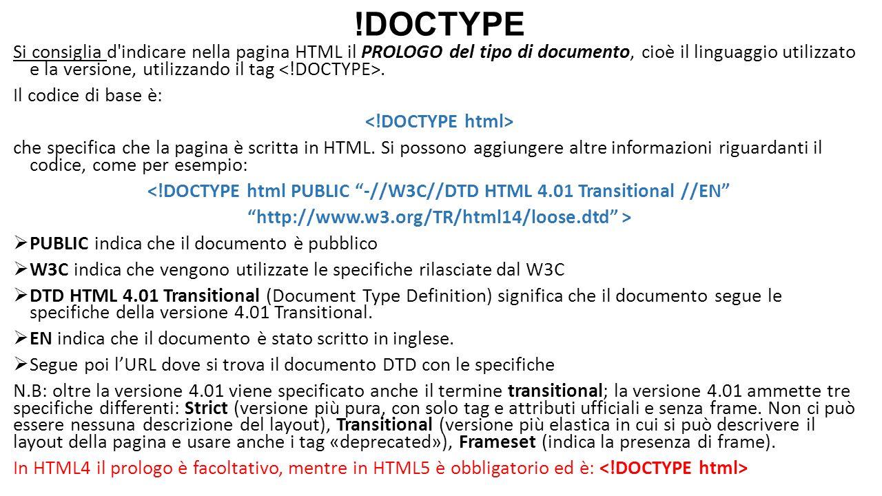 !DOCTYPE Si consiglia d'indicare nella pagina HTML il PROLOGO del tipo di documento, cioè il linguaggio utilizzato e la versione, utilizzando il tag.