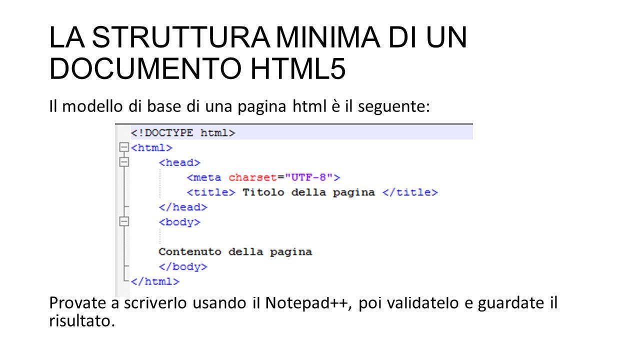 LA STRUTTURA MINIMA DI UN DOCUMENTO HTML5 Il modello di base di una pagina html è il seguente: Provate a scriverlo usando il Notepad++, poi validatelo