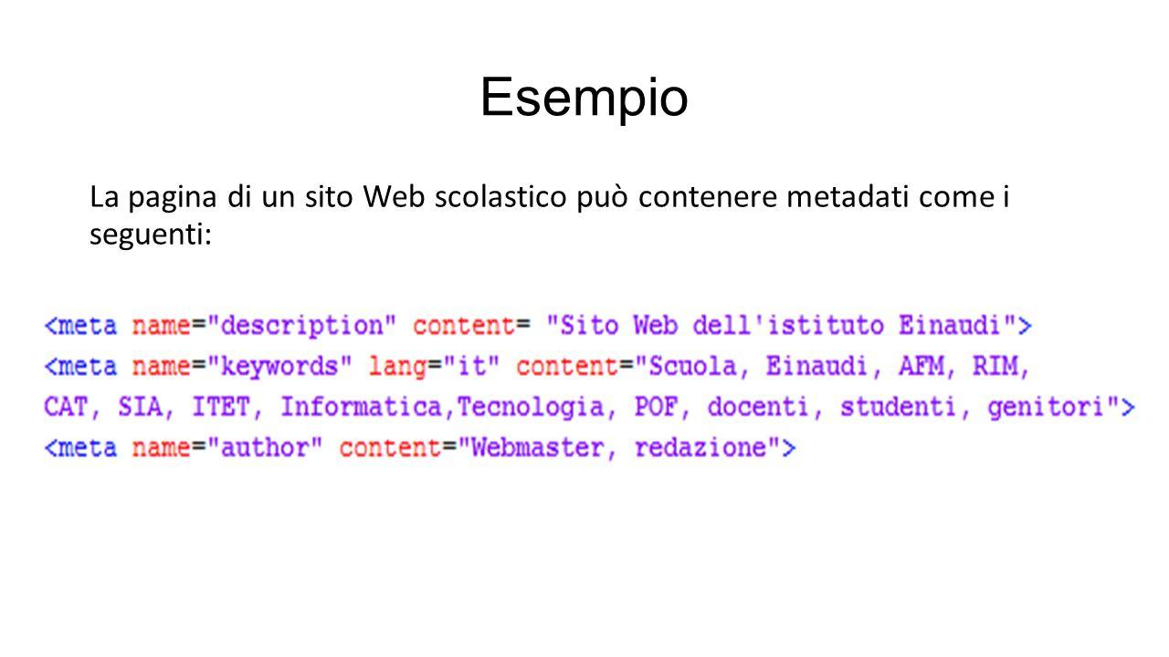 Esempio La pagina di un sito Web scolastico può contenere metadati come i seguenti:
