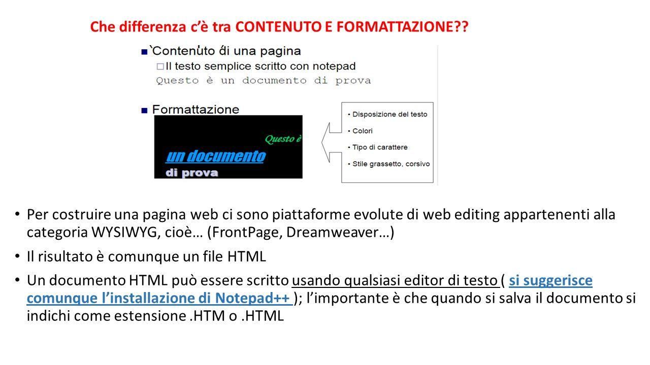 Per costruire una pagina web ci sono piattaforme evolute di web editing appartenenti alla categoria WYSIWYG, cioè… (FrontPage, Dreamweaver…) Il risult