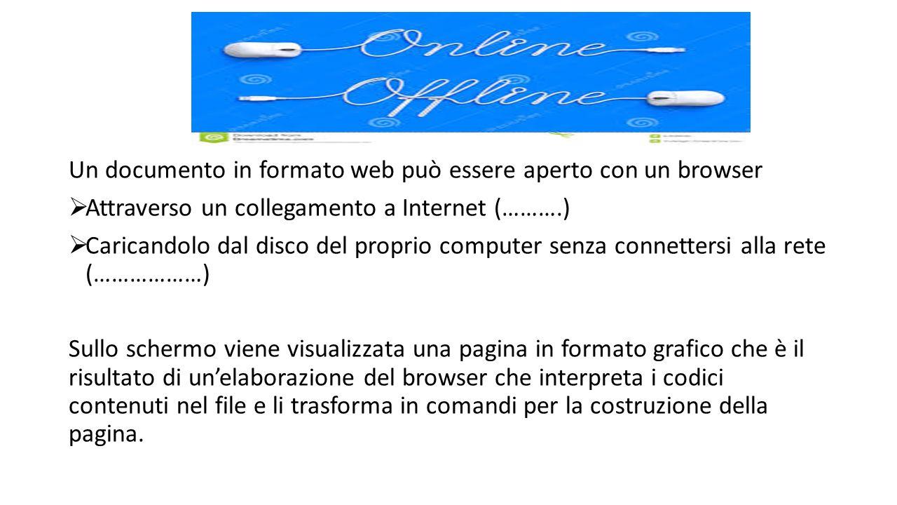 Un documento in formato web può essere aperto con un browser  Attraverso un collegamento a Internet (……….)  Caricandolo dal disco del proprio comput