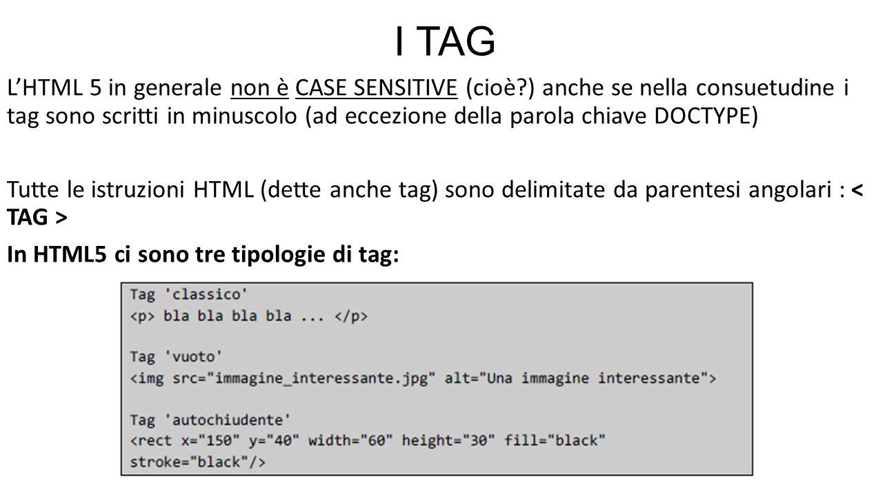 I TAG L'HTML 5 in generale non è CASE SENSITIVE (cioè?) anche se nella consuetudine i tag sono scritti in minuscolo (ad eccezione della parola chiave