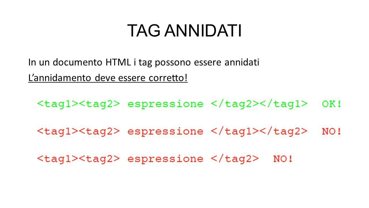 TAG ANNIDATI In un documento HTML i tag possono essere annidati L'annidamento deve essere corretto!