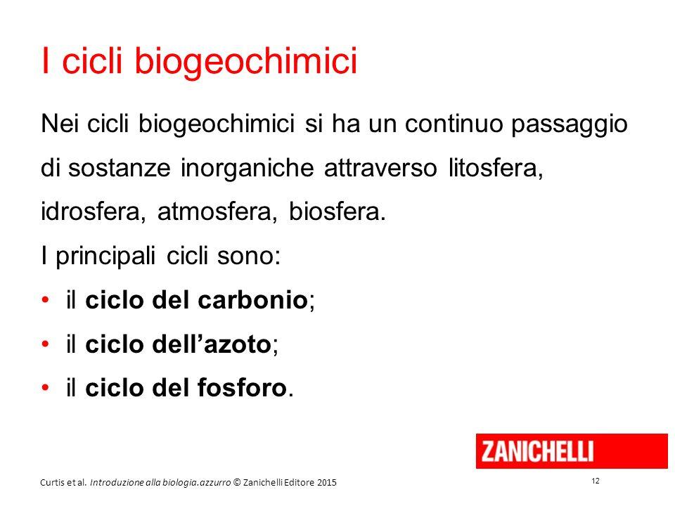 12 Curtis et al. Introduzione alla biologia.azzurro © Zanichelli Editore 2015 I cicli biogeochimici Nei cicli biogeochimici si ha un continuo passaggi
