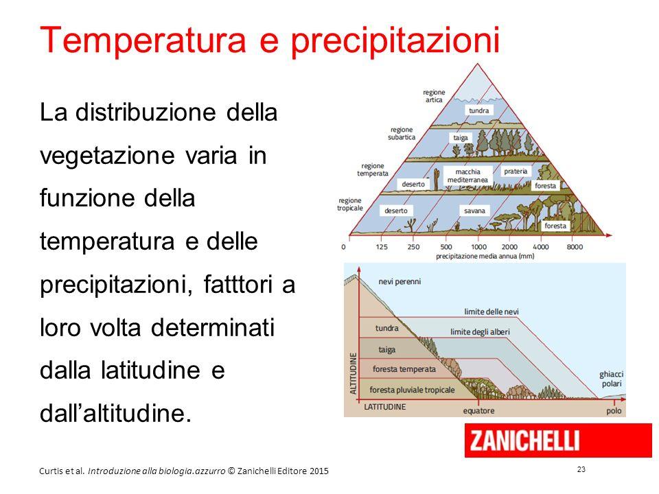 23 Curtis et al. Introduzione alla biologia.azzurro © Zanichelli Editore 2015 Temperatura e precipitazioni La distribuzione della vegetazione varia in