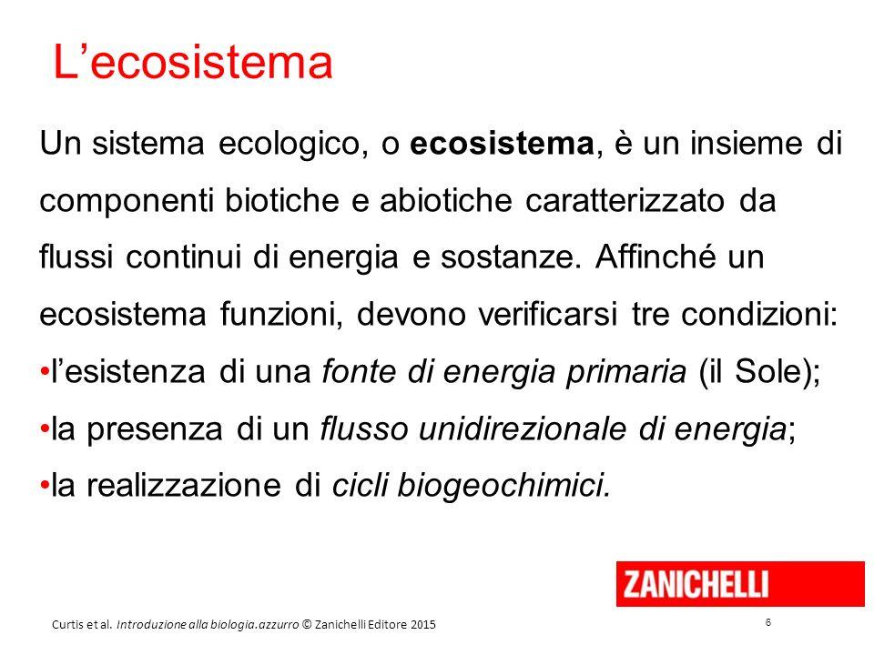 6 6 Curtis et al. Introduzione alla biologia.azzurro © Zanichelli Editore 2015 L'ecosistema Un sistema ecologico, o ecosistema, è un insieme di compon