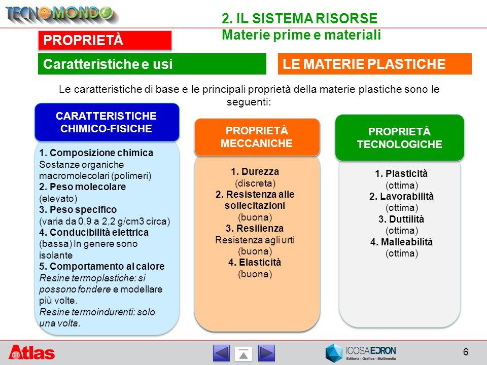 6 2. IL SISTEMA RISORSE Materie prime e materiali PROPRIETÀ LE MATERIE PLASTICHECaratteristiche e usi Le caratteristiche di base e le principali propr