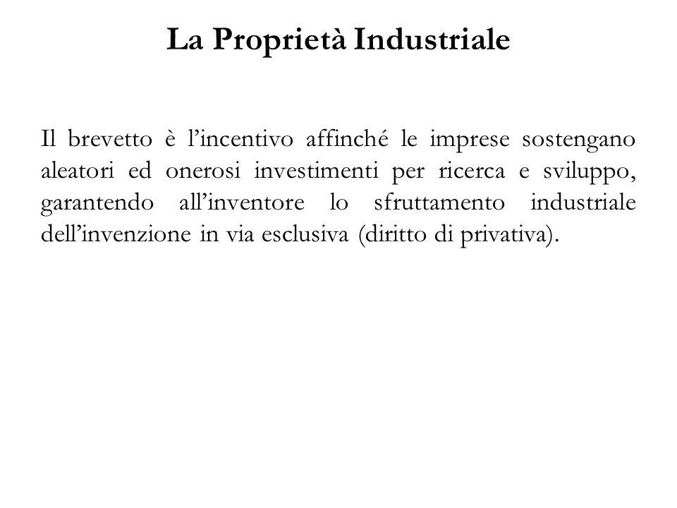 La Proprietà Industriale Il brevetto è l'incentivo affinché le imprese sostengano aleatori ed onerosi investimenti per ricerca e sviluppo, garantendo all'inventore lo sfruttamento industriale dell'invenzione in via esclusiva (diritto di privativa).