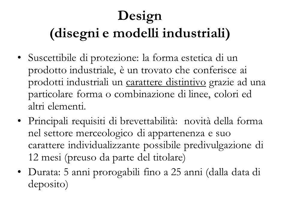 Design (disegni e modelli industriali) Suscettibile di protezione: la forma estetica di un prodotto industriale, è un trovato che conferisce ai prodotti industriali un carattere distintivo grazie ad una particolare forma o combinazione di linee, colori ed altri elementi.