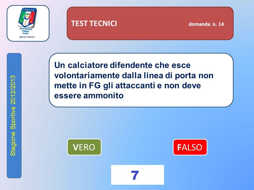 Settore Tecnico Stagione Sportiva 2012/2013 TEST TECNICI domanda n.
