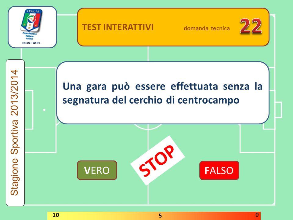 Settore Tecnico TEST INTERATTIVI domanda tecnica Come dovrà comportarsi l'arbitro se, con il pallone in gioco, un oggetto viene lanciato sul terreno di gioco oppure un animale entra nel recinto o sul terreno di gioco.