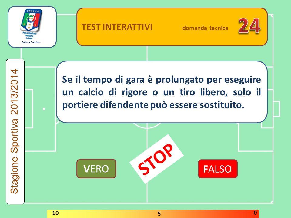 Settore Tecnico TEST INTERATTIVI domanda tecnica Dopo la segnatura di una rete, e prima che il gioco sia ripreso, l'arbitro realizza che la squadra che ha segnato stava giocando con un calciatore in più.