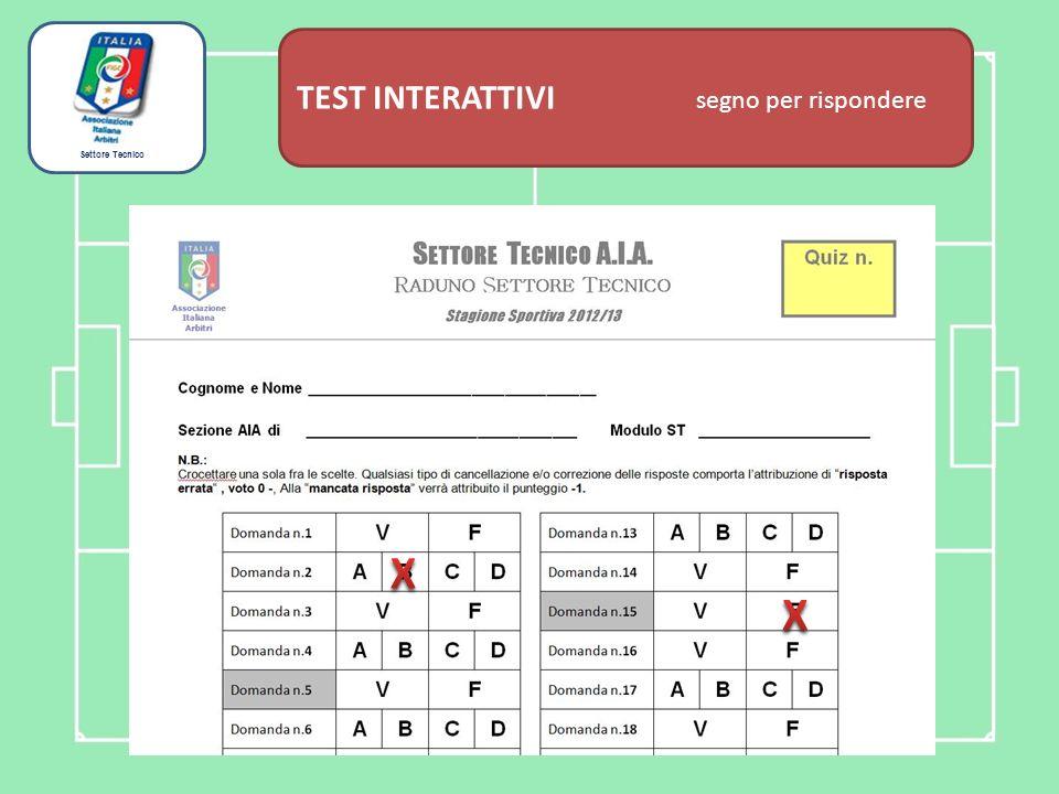 Settore Tecnico TEST INTERATTIVI domanda tecnica Questa è una domanda di esempio che comporta la scelta di UNA SOLA risposta fra le quattro proposte Stagione Sportiva 2013/2014 A Risposta n.