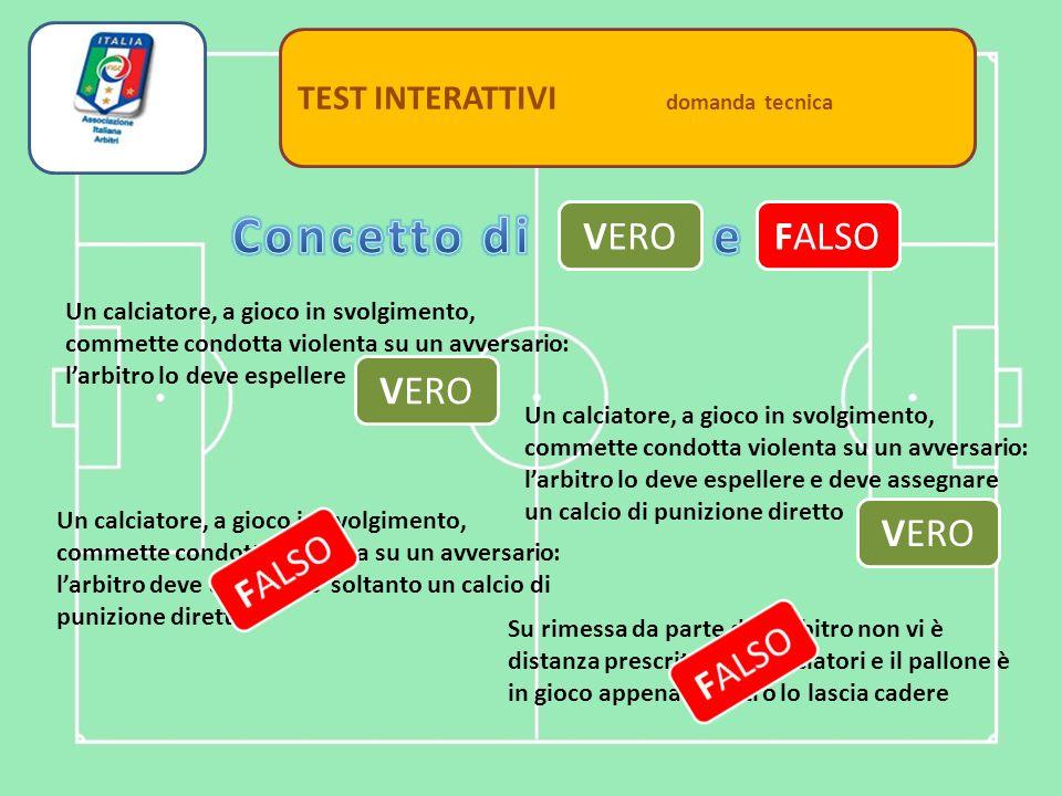 Settore Tecnico TEST INTERATTIVI domanda tecnica Un calciatore infortunato può essere escluso dal partecipare ai tiri di rigore.
