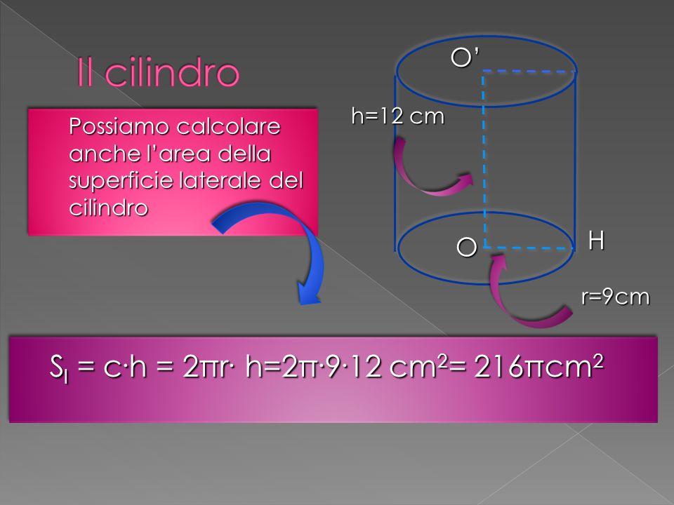 Possiamo calcolare anche l'area della superficie laterale del cilindro S l = c.