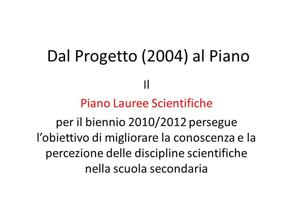 Dal Progetto (2004) al Piano Il Piano Lauree Scientifiche per il biennio 2010/2012 persegue l'obiettivo di migliorare la conoscenza e la percezione delle discipline scientifiche nella scuola secondaria
