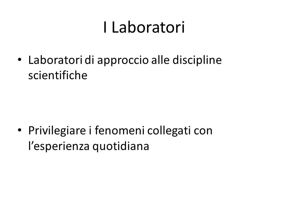 I Laboratori Laboratori di approccio alle discipline scientifiche Privilegiare i fenomeni collegati con l'esperienza quotidiana