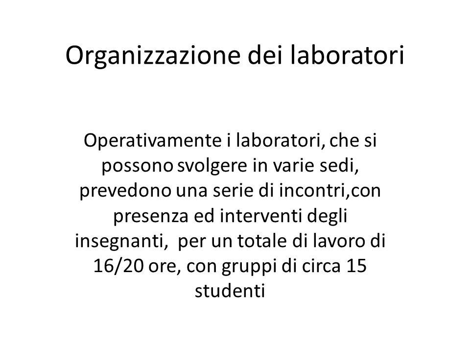 Organizzazione dei laboratori Operativamente i laboratori, che si possono svolgere in varie sedi, prevedono una serie di incontri,con presenza ed interventi degli insegnanti, per un totale di lavoro di 16/20 ore, con gruppi di circa 15 studenti