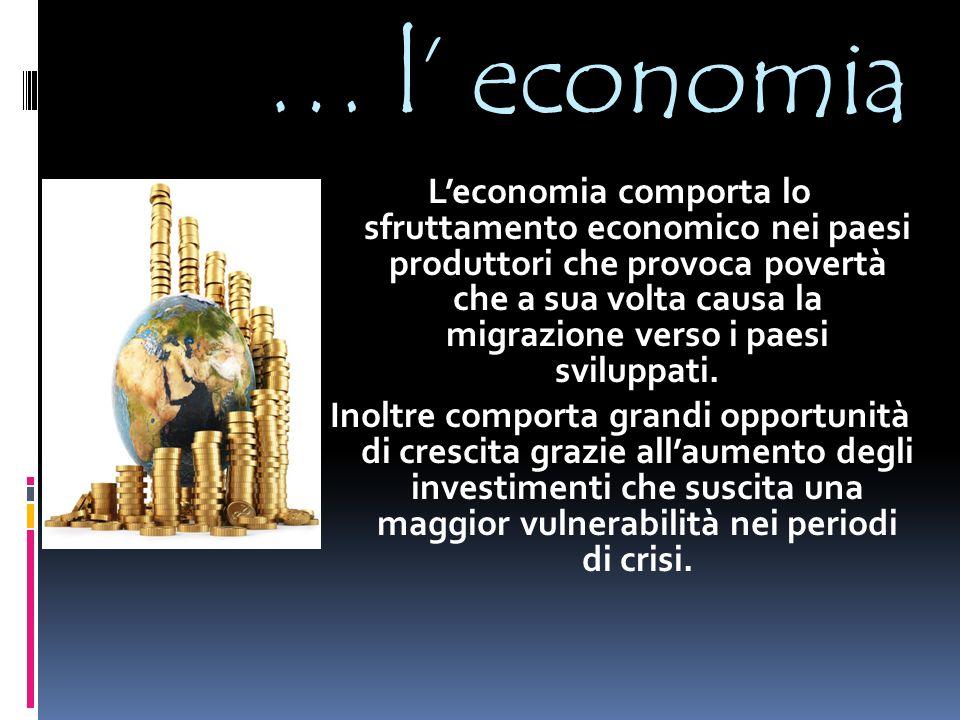… l' economia L'economia comporta lo sfruttamento economico nei paesi produttori che provoca povertà che a sua volta causa la migrazione verso i paesi sviluppati.