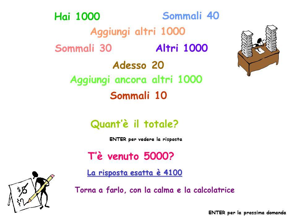Hai 1000 Sommali 40 Aggiungi altri 1000 Sommali 30 Altri 1000 Adesso 20 Aggiungi ancora altri 1000 Sommali 10 Quant'è il totale.