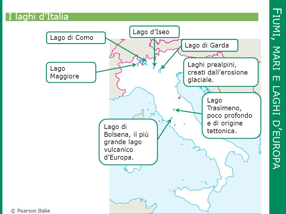 © Pearson Italia F IUMI, MARI E LAGHI D ' EUROPA I laghi d'Italia Lago Maggiore Lago di ComoLago d'IseoLago di Garda Laghi prealpini, creati dall'eros