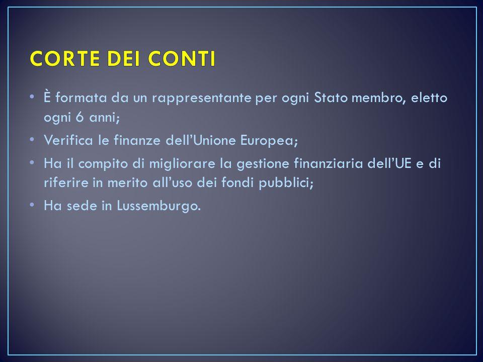 È formata da un rappresentante per ogni Stato membro, eletto ogni 6 anni; Verifica le finanze dell'Unione Europea; Ha il compito di migliorare la gest