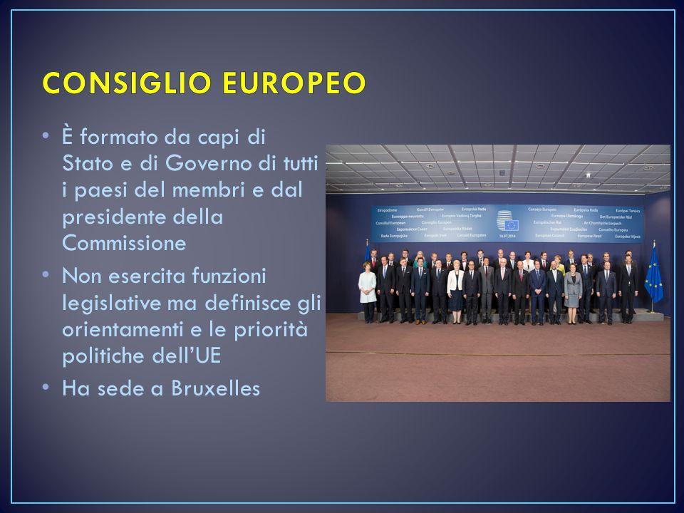 È formato da capi di Stato e di Governo di tutti i paesi del membri e dal presidente della Commissione Non esercita funzioni legislative ma definisce gli orientamenti e le priorità politiche dell'UE Ha sede a Bruxelles