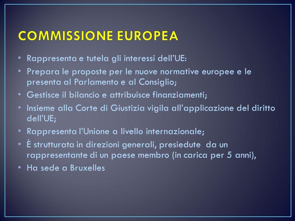 Rappresenta e tutela gli interessi dell'UE: Prepara le proposte per le nuove normative europee e le presenta al Parlamento e al Consiglio; Gestisce il bilancio e attribuisce finanziamenti; Insieme alla Corte di Giustizia vigila all'applicazione del diritto dell'UE; Rappresenta l'Unione a livello internazionale; È strutturata in direzioni generali, presiedute da un rappresentante di un paese membro (in carica per 5 anni), Ha sede a Bruxelles