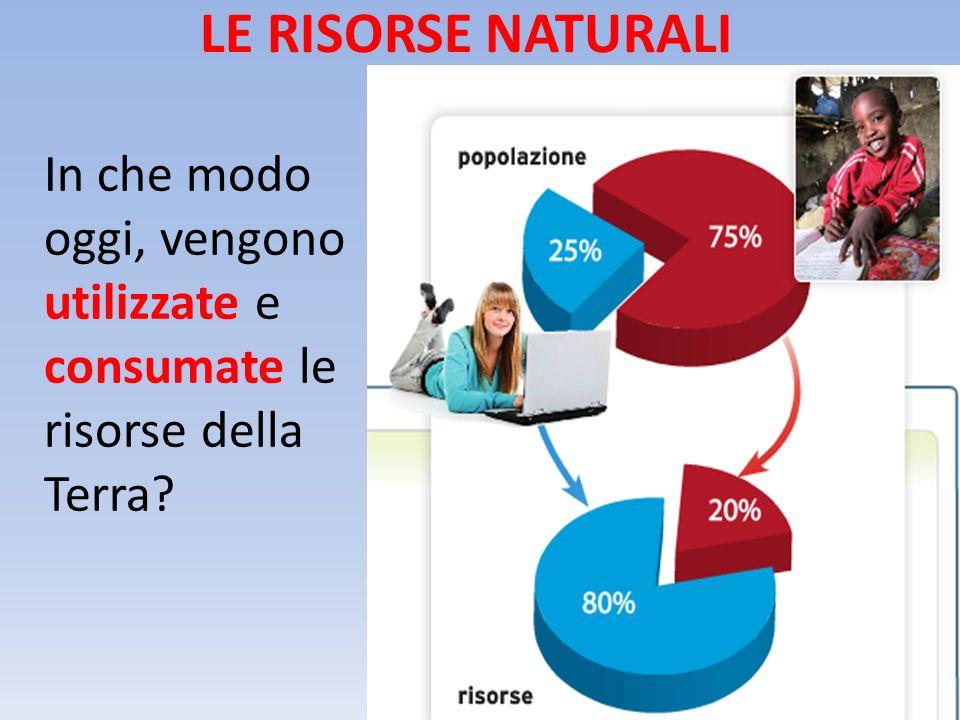 LE RISORSE NATURALI In che modo oggi, vengono utilizzate e consumate le risorse della Terra?