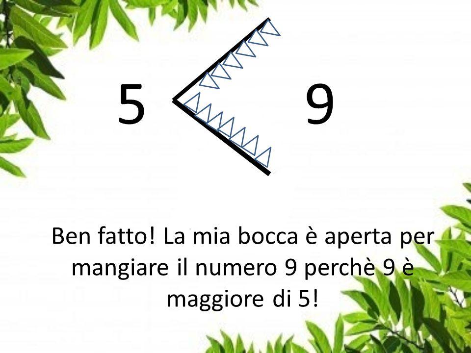 Ben fatto! La mia bocca è aperta per mangiare il numero 9 perchè 9 è maggiore di 5!